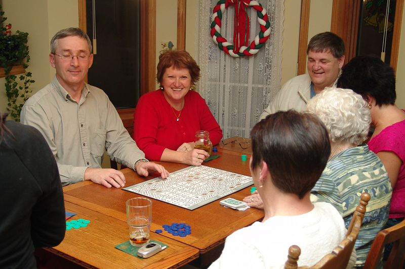 Playing a board game.