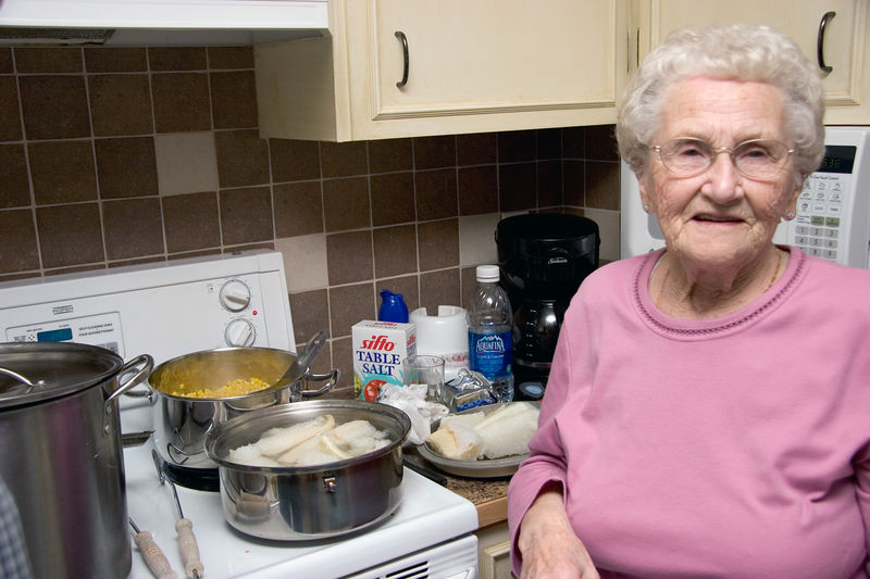 "My grandma making <a href=""http://en.wikipedia.org/wiki/Lutefisk"" target=_blank>lutefisk</a>."
