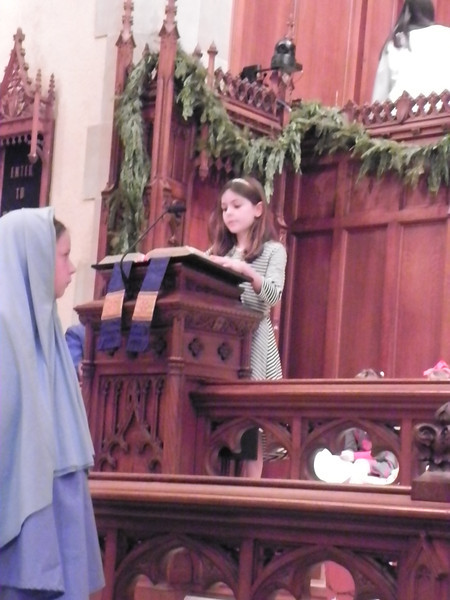 """Mary"" in foreground as the first scripture is read."