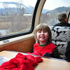 Lincoln in the Upper Dome Car on the train. He's happy!