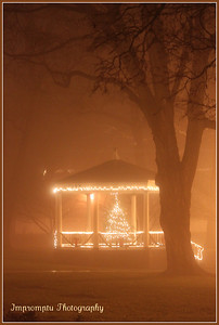 December 8, 2011. A gazebo in the park is decorated for Christmas.