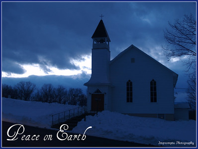 December 27, 2011. Snowy church scene at dusk.