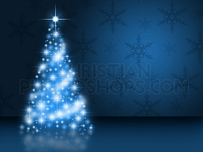 Blue glowing Christmas tree