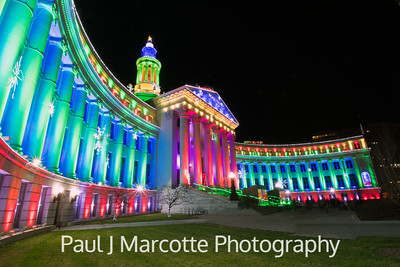 Denver's City and County building looking festive.