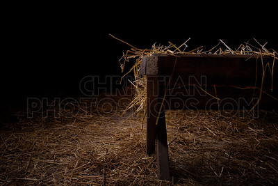 Empty manger at night