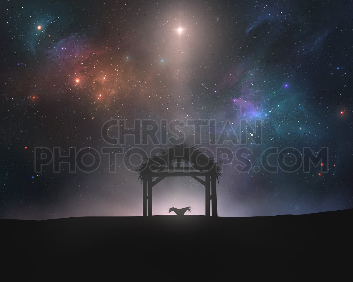 Empty manger under night sky