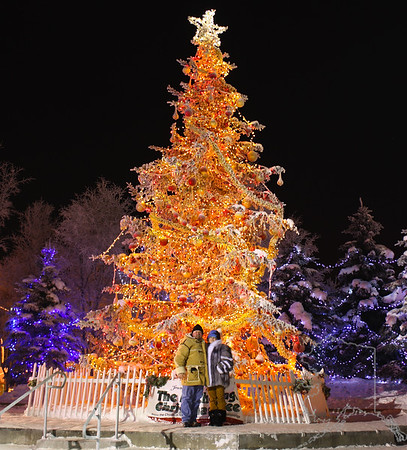 Donnette and I standing in front of the City of Anchorage's Christmas tree. It was about -15 on this night at about 1:00 am.