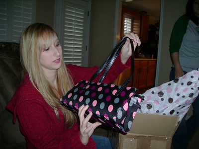 Kelly with her new purse.