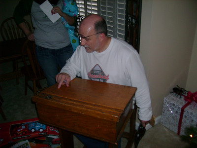 Mike with his antique school desk.