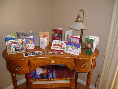 Kelly and Michael's Christmas card table.