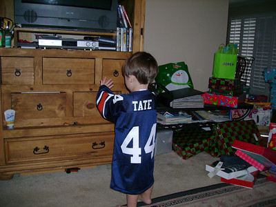 Tate showing off his new jersey.