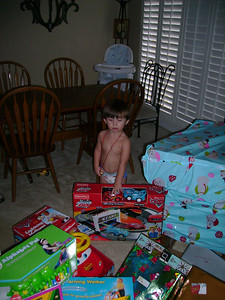 Tate ready to open gifts.