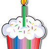 Birthday Cupcake With A Colorful Wrapper And Sprinkles, Topped With A Lit Candle Clipart Illustration