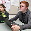 Fitchburg High School Freshmen Ethan Chandler and Fiorela Cruz-Rivera talk about the chromebooks that they uses in their classes. SENTIENL & ENTERPRISE/JOHN LOVE