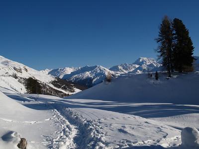 Schneeschuh-Wanderung Münstertal am Ofenpass: Passhöhe - Tschierv (CH) / © RobAng, 30.12.08