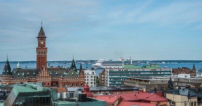 View from the Helsingborg Castle offering a sweeping view of the city from the top.