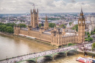 Big Ben and Parliament Building. View from the glass capsule of the London Eye ferris wheel.