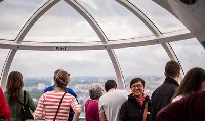 Inside the glass capsule of the London Eye ferris wheel