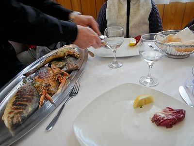 Lunch at a small Italian restaurent in Murano. Murano is a small island close to Venice famous for its glass making.