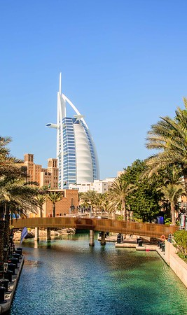 Distanced view of Burj Al Arab from the Souk Madinat Jumeirah.