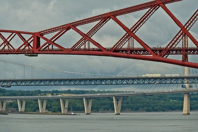 Image shows all 3 bridges across the Firth of Forth. The red one being the Forth Bridge, a Unesco World Heritage Site, the one next to it being the Forth Road Bridge, then the Queensferry Crossing.