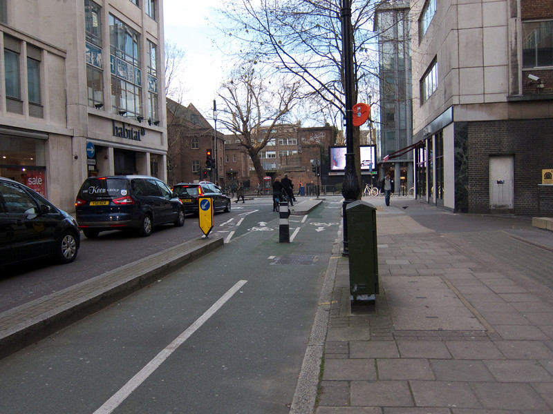 View toward Tottenham Court Rd from north sidewalk of Torrington Place<br /> London Winter - 2012-01-13 at 09-57-36