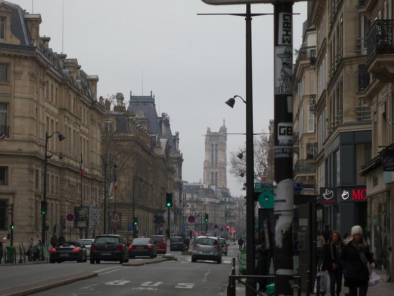Rue de Rivoli--Hotel de Ville and Tour St Jacques<br /> Paris - 2013-01-13 at 13-23-03