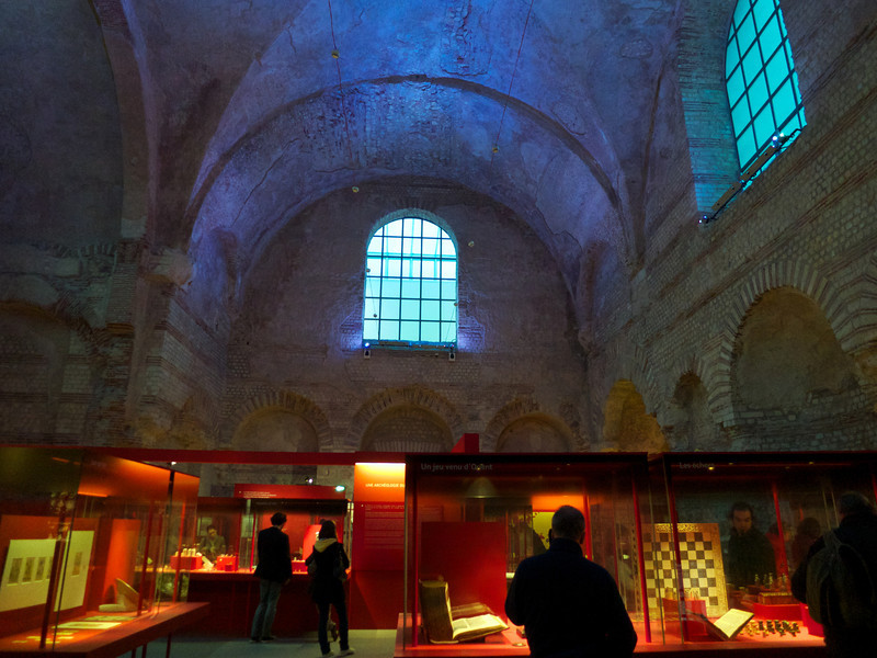 Special exhibit of medieval games pieces in the old Roman Baths at the Cluny<br /> Paris - 2013-01-13 at 16-15-42