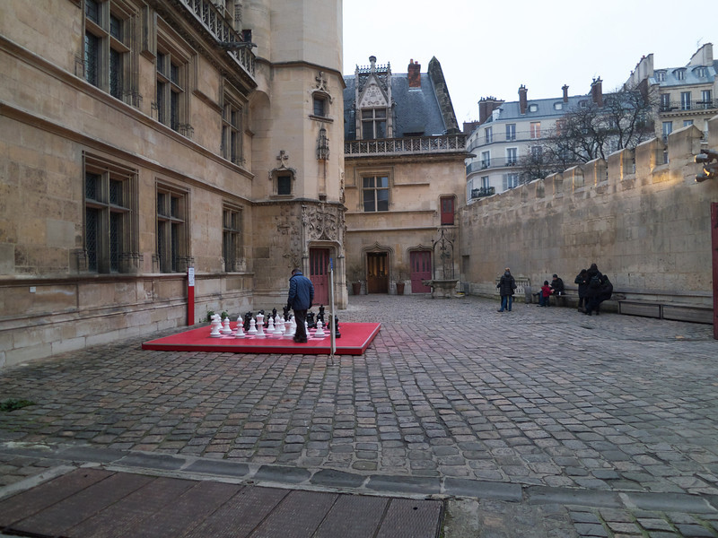 Courtyard of the cluny with a large chess set<br /> Paris - 2013-01-13 at 16-46-09