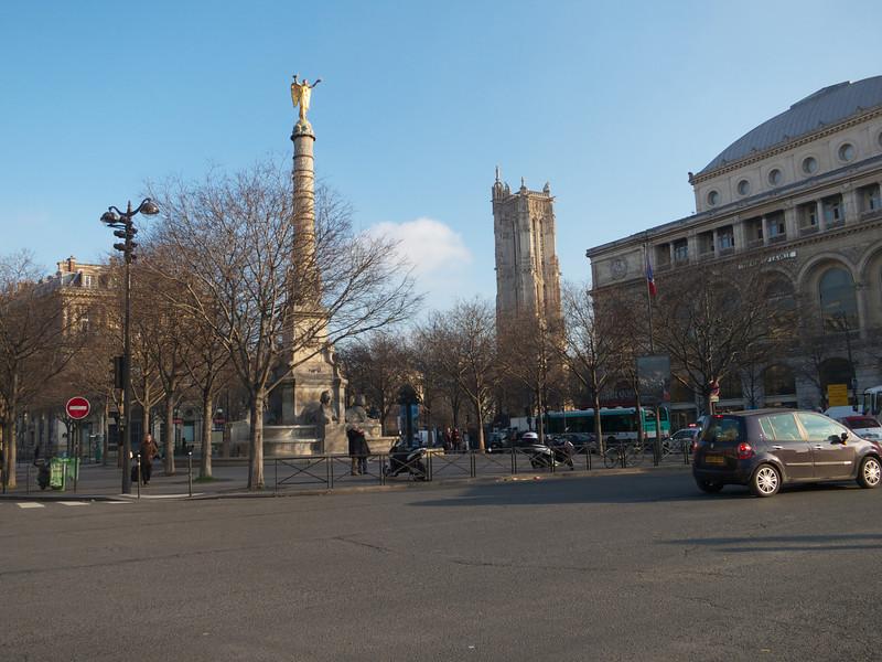 Palace du Chatalet and Tour St Jacques<br /> Paris - 2013-01-14 at 10-49-15