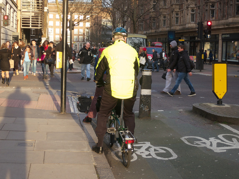 Puddle covering width of cycletrack 2 days after the last rain<br /> London - 2014-02-03 at 15-55-57