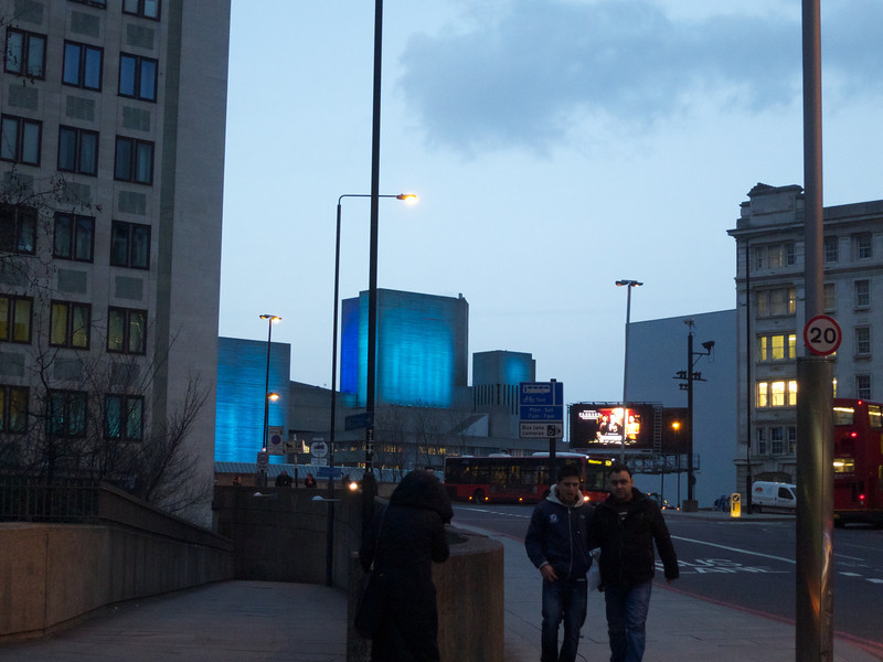 The National Theatre at Twilight from the Waterloo Roundabout<br /> London - 2014-02-04 at 17-04-54