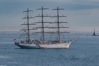 The Dar Mlodziezy in Plymouth Sound