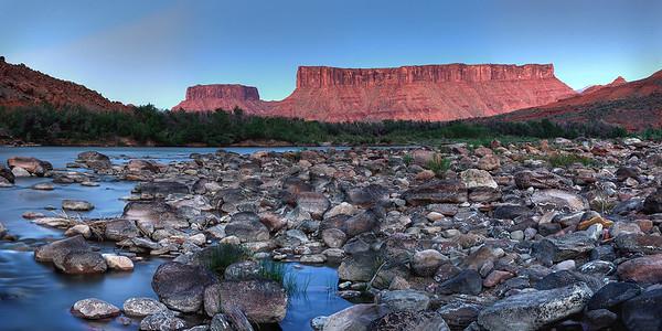 River trail after sundown, Red Cliffs Lodge