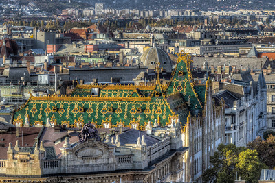 The green/yellow tile roof of the National Savings Treasury