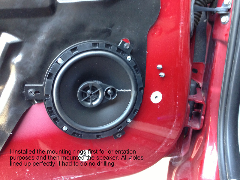 "I installed the mounting rings from   <a href=""http://www.car-speaker-adapters.com/items.php?id=SAK011""> Car-Speaker-Adapters.com</a>   first for orientation purposes and then mounted the speaker.  All holes lined up perfectly.  I had to do no drilling."