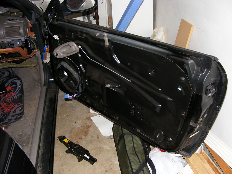 Car stripped to prepare for stereo installation