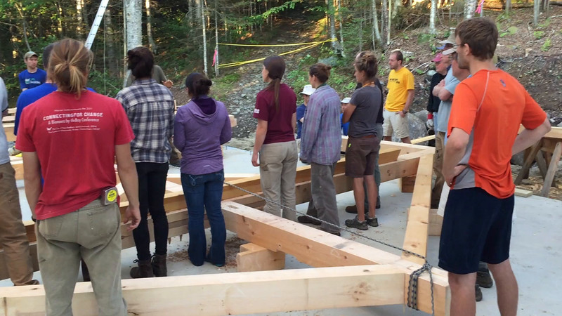 Timberframe workshop at Moosilauke - Class of 1966 bunkhouse. (Photo by Chuck Sherman '66.)