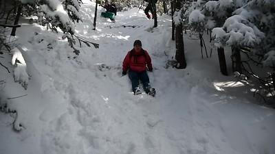 Kathy slides down Mt.Hunger