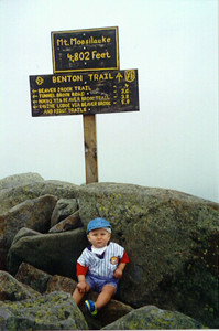 John on his first visit to the summit of Mount Moosilauke.