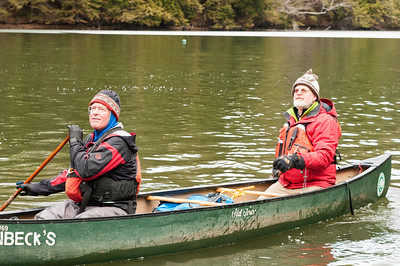 Brian Kunz and Dan Nelson in the safety boat. Woodsmen's Weekend at Dartmouth, 2015.
