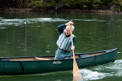 Put Blodgett '53 opens the singles canoeing. Woodsmen's Weekend at Dartmouth, 2015.