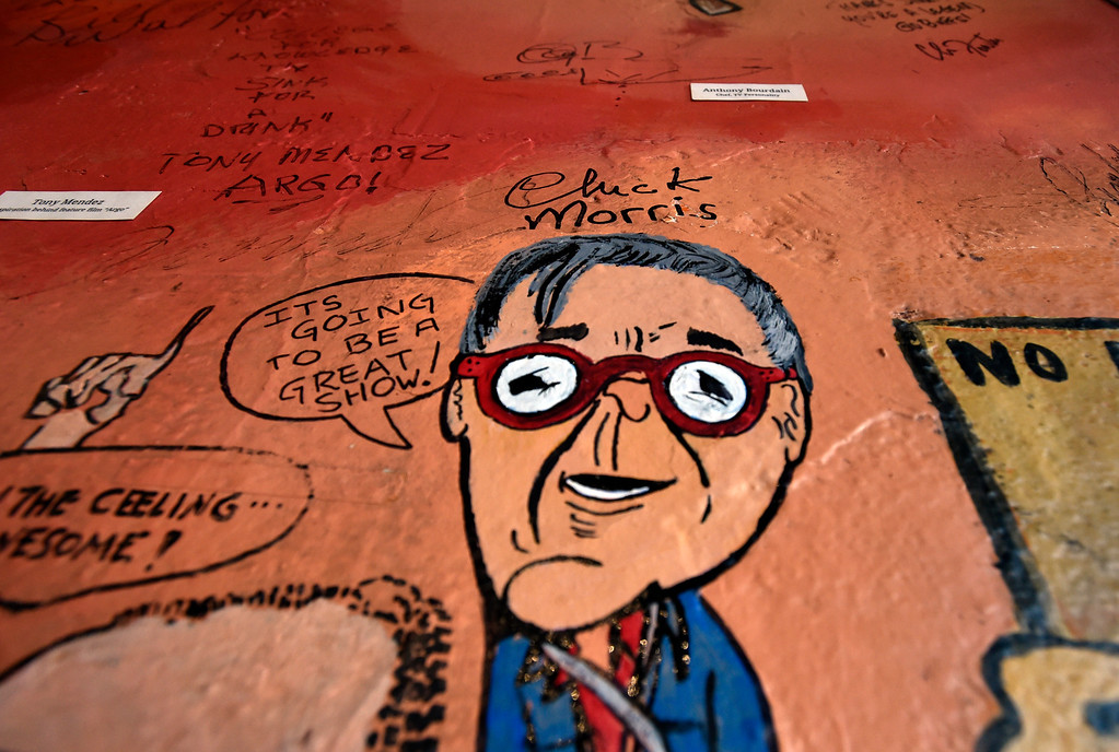 . BOULDER, CO - FEBRUARY 4, 2019: Former manager of The Sink and Colorado Music Hall of Fame Inductee Chuck Morris\'s signed caricature during a wall signing event on Monday at The Sink in Boulder. For more photos of the event go to dailycamera.com (Photo by Jeremy Papasso/Staff Photographer)