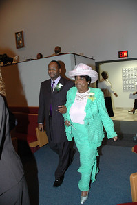 Escorting Pastor Hicks is Mother Pearl Hawkins