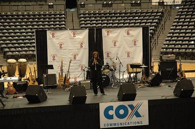 Ms Edmonds from Cox Communication welcomes everyone to Gospel Celebration at Wichita State University Koch arena.