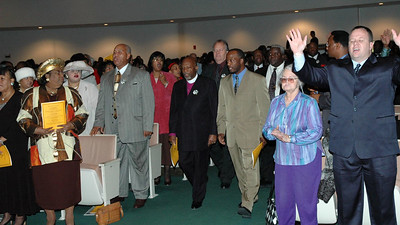 "The Procession of Pastors lead by  Pastor Charles Maxey (right), and feature speaker Bishop George D McKinney (left). The Wichita Ministerial League ""Annual Martin Luther King Jr. Celebration"", Wichita, Ks Jan. 16, 2006."
