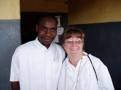 """Momma Suzi"" Stephens with hospital staff at a 2006 hospital visit and medical supplies distribution."