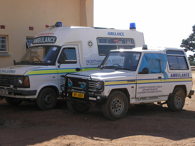 These are two of the ambulances for Blessings Hospital. Both were broke down when we got there in July 2006.