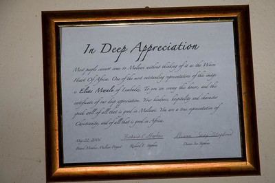 A plaque of appreciation from Dick and Suzi. (move your cursor over the picture and click on a larger picture to read it.)