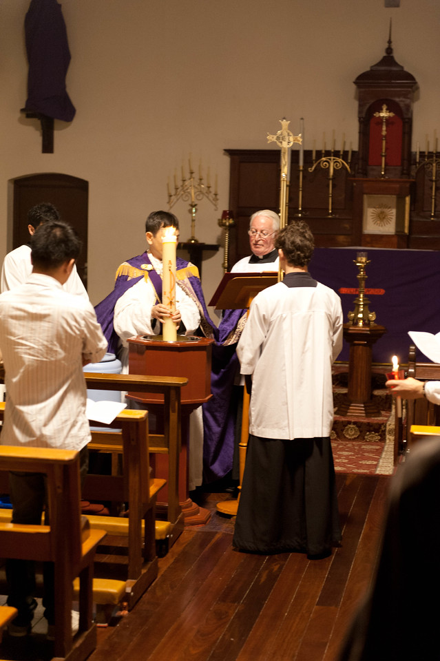 Blessing the holy water at the Easter Vigil